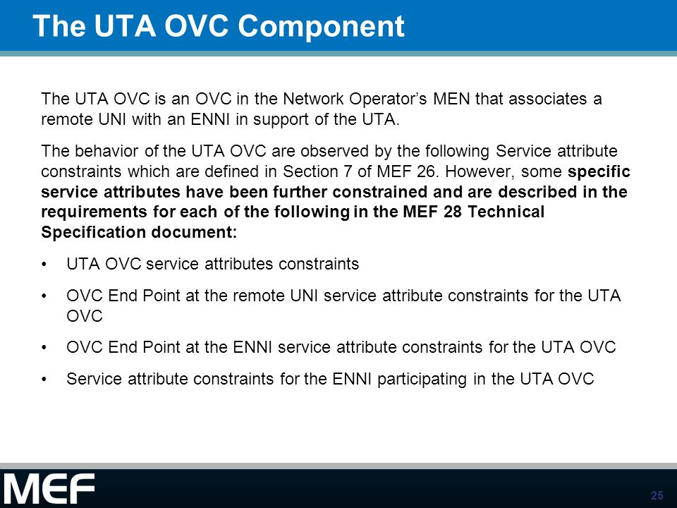 The UTA OVC ComponentThe UTA OVC is an OVC in the Network Operator's MEN that associates a remote UNI with an ENNI in support of the UTA.