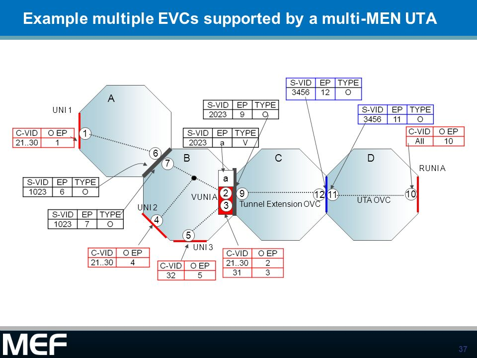 Example multiple EVCs supported by a multi-MEN UTA