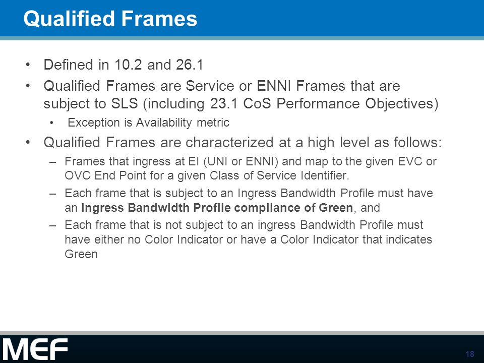 Qualified Frames Defined in 10.2 and 26.1