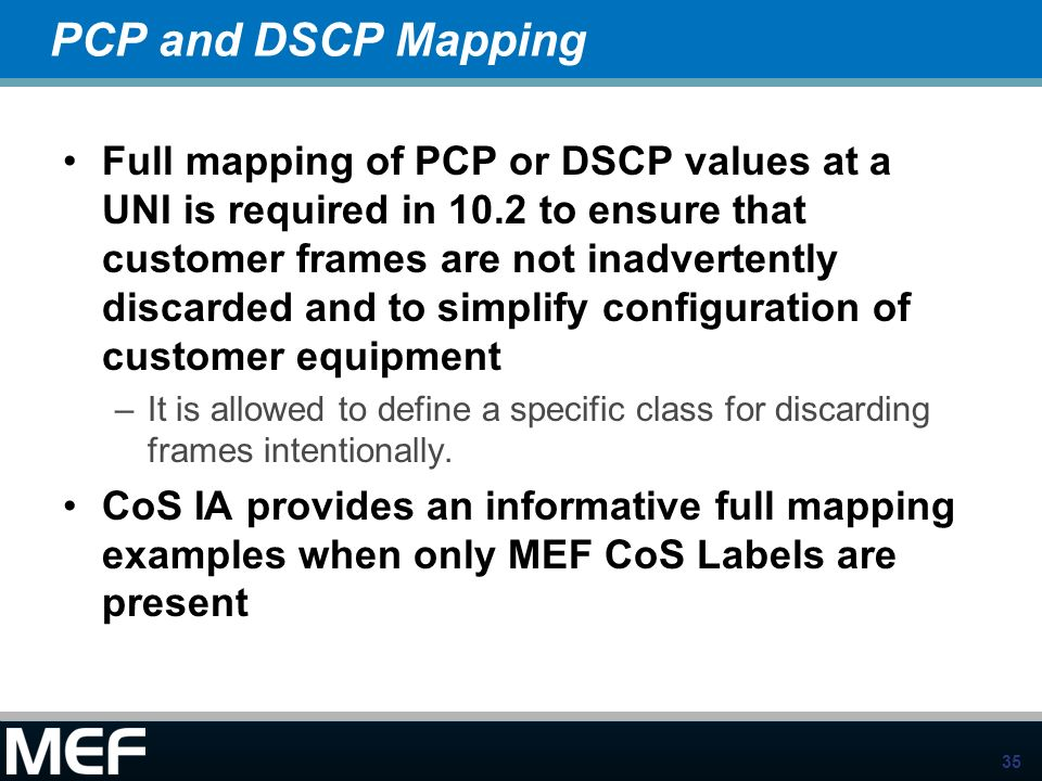 PCP and DSCP Mapping