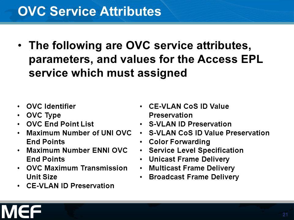OVC Service Attributes