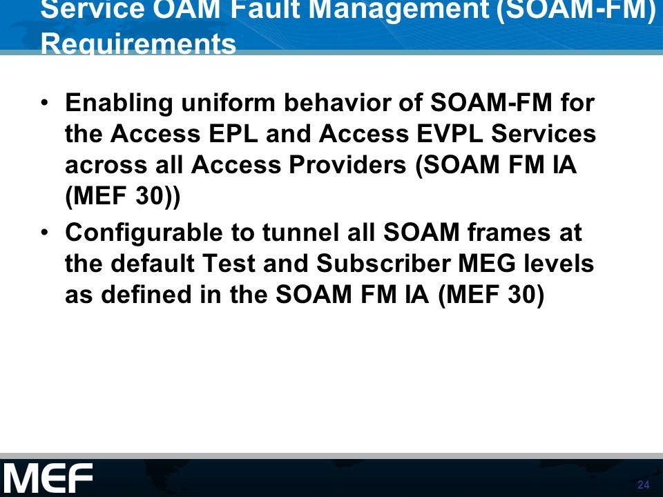 Service OAM Fault Management (SOAM-FM) Requirements