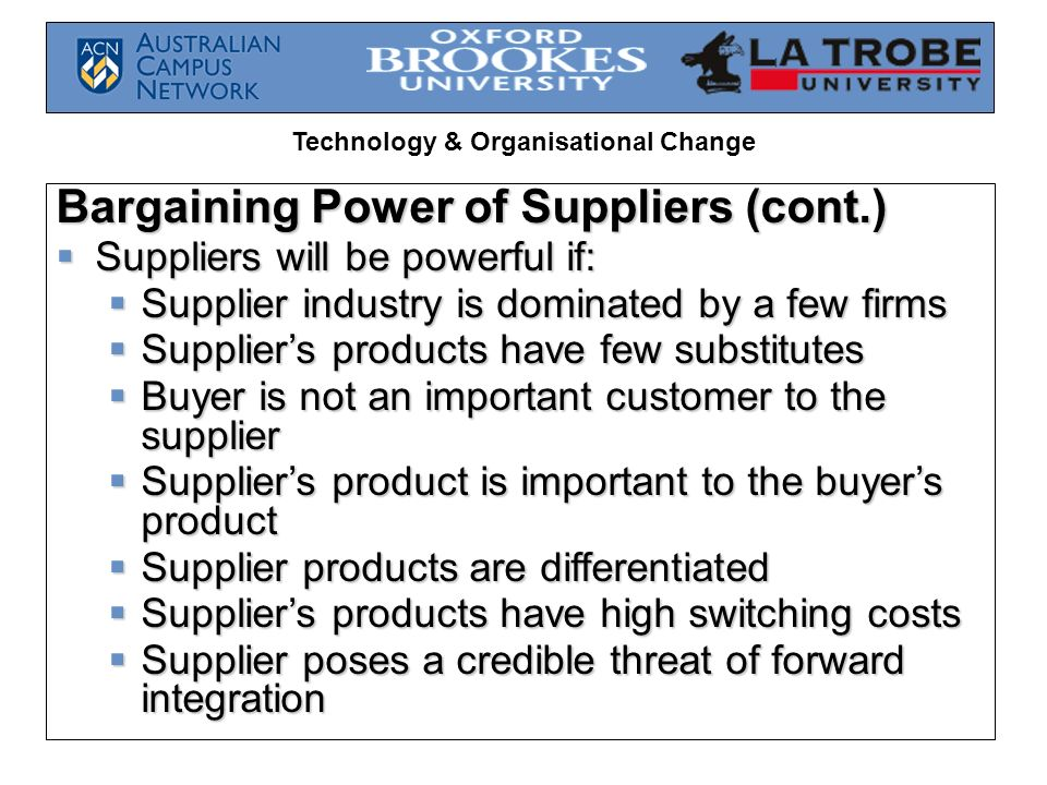 bargaining power of the suppliers in packaging industry The amount of control your suppliers have over the price of goods you purchase dictates whether this area is an opportunity or threat suppliers or vendors are any companies that provide raw materials, components, or services into your industry the more suppliers, the less control any one.