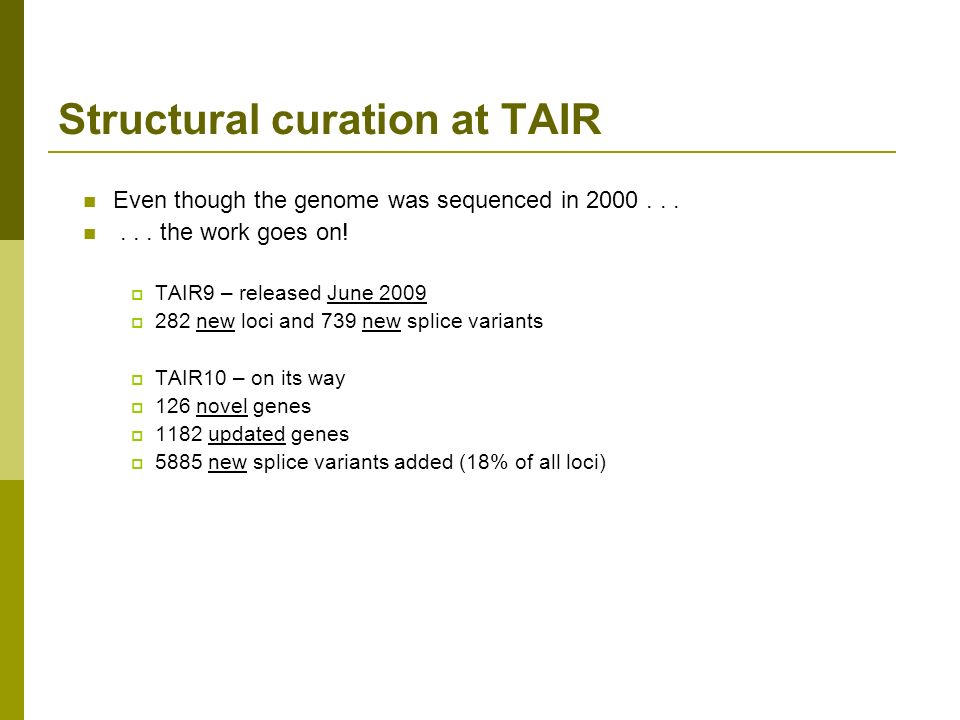 Structural curation at TAIR