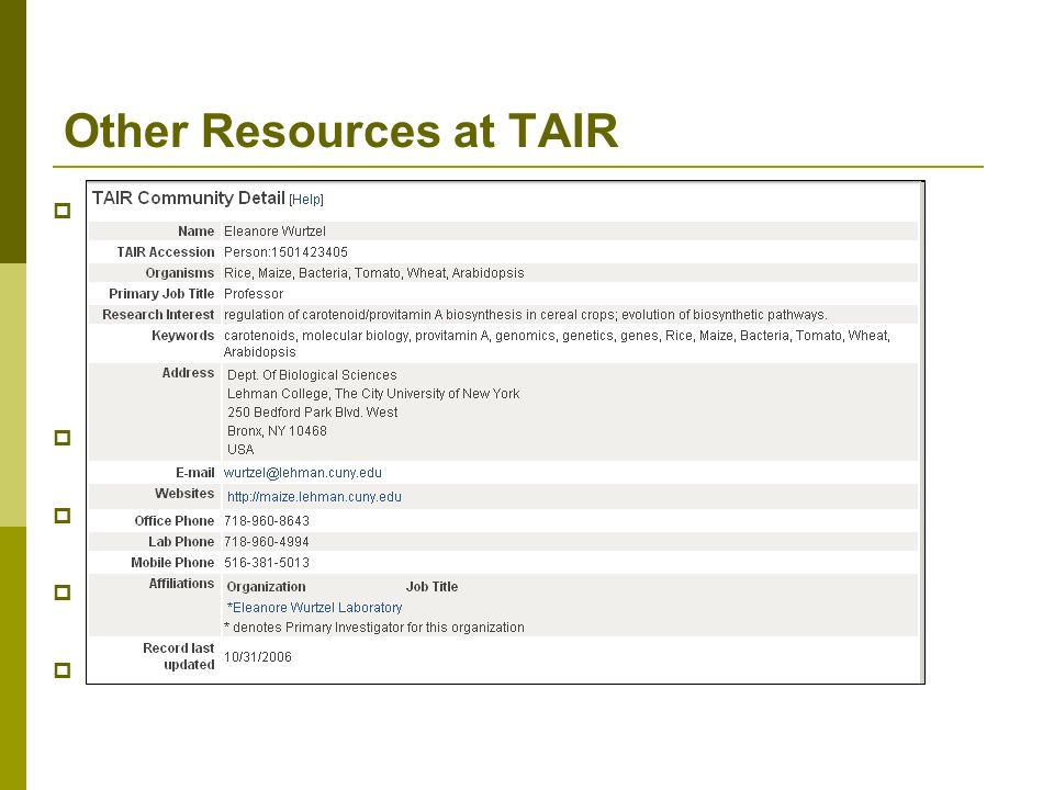 Other Resources at TAIR