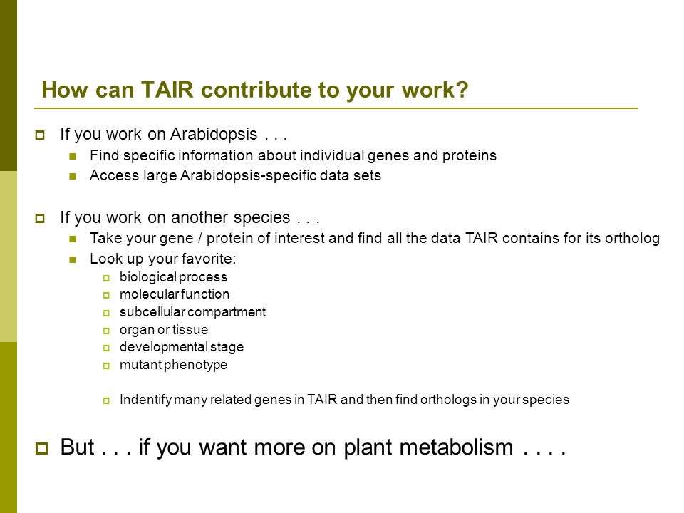 How can TAIR contribute to your work
