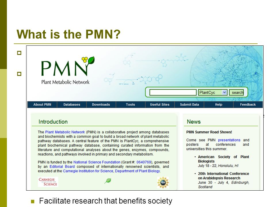 What is the PMN A Network of Plant Metabolic Pathway Databases and Communities Major goals: