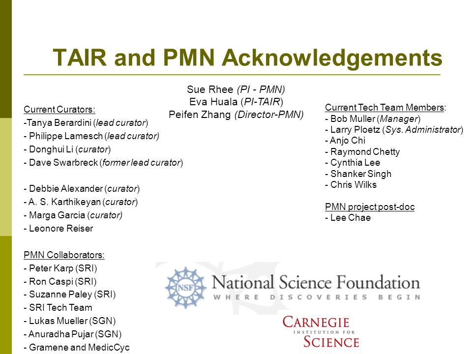 TAIR and PMN Acknowledgements