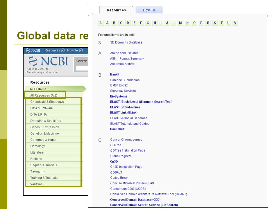 Global data repositories / databases