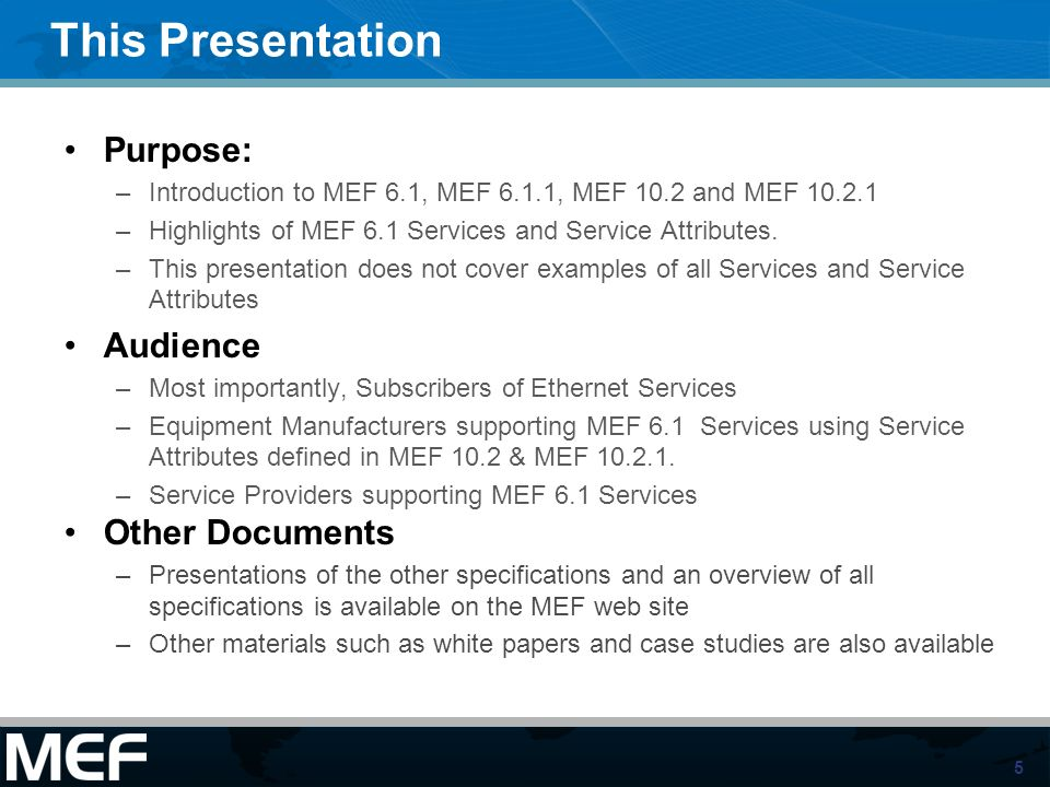 This Presentation Purpose: Audience Other Documents