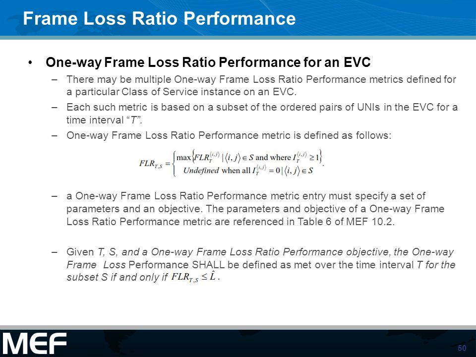Frame Loss Ratio Performance