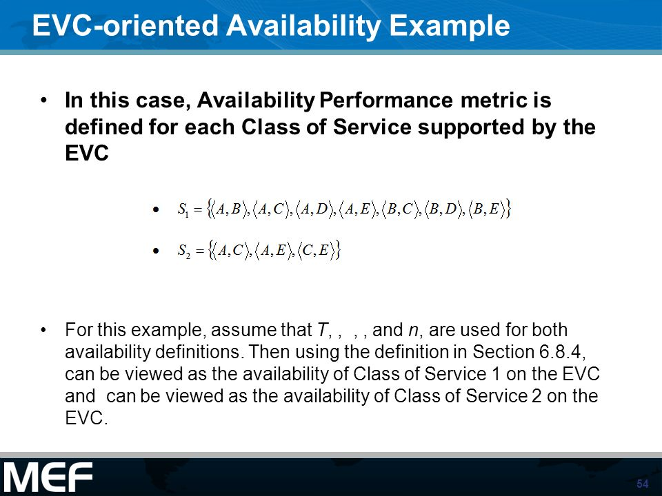 EVC-oriented Availability Example