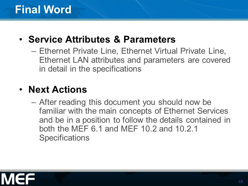 Final Word Service Attributes & Parameters Next Actions