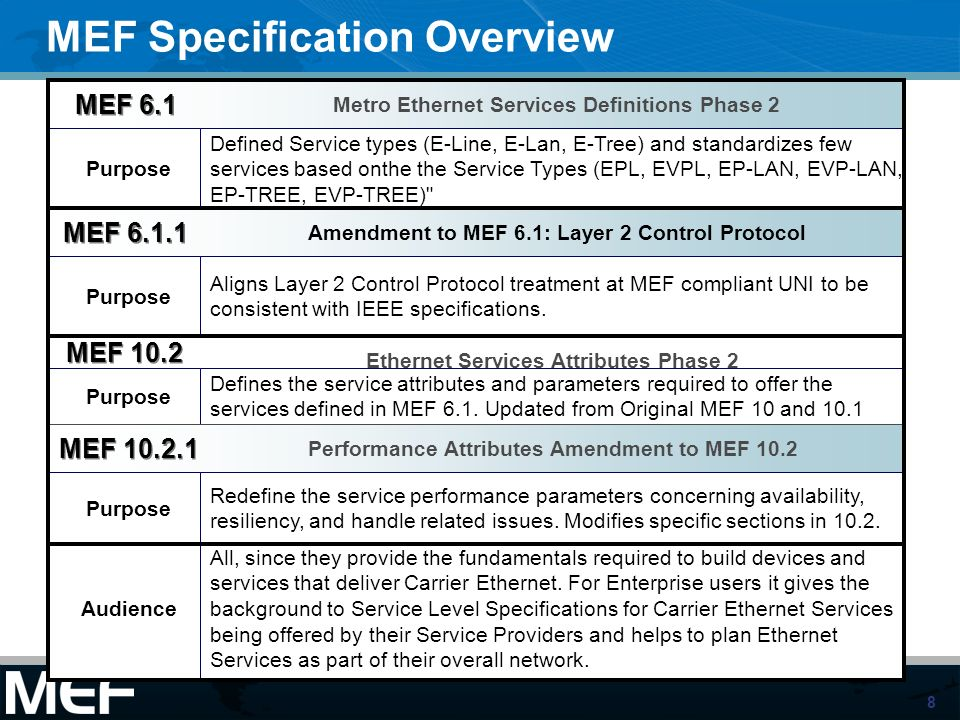 MEF Specification Overview