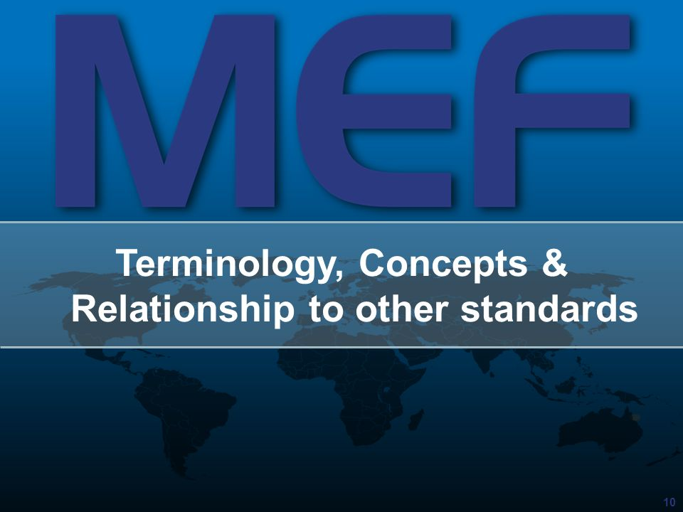 Terminology, Concepts & Relationship to other standards