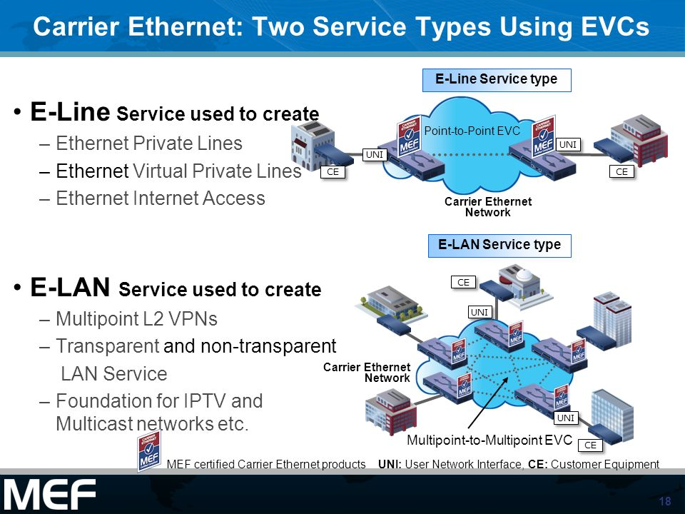 Carrier Ethernet: Two Service Types Using EVCs