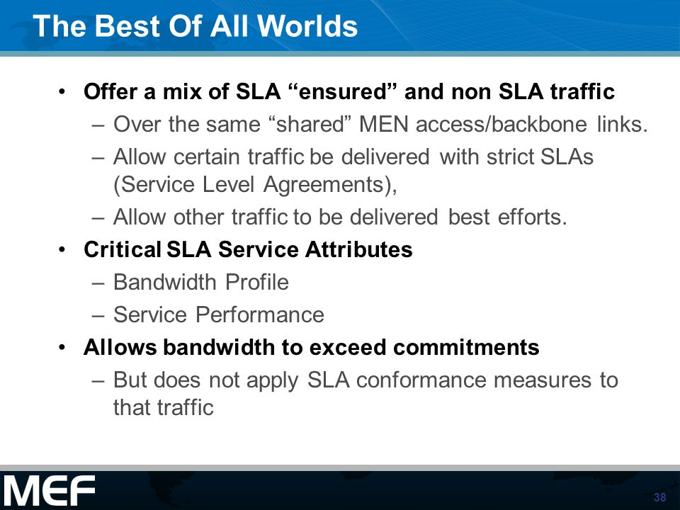 The Best Of All Worlds Offer a mix of SLA ensured and non SLA traffic. Over the same shared MEN access/backbone links.