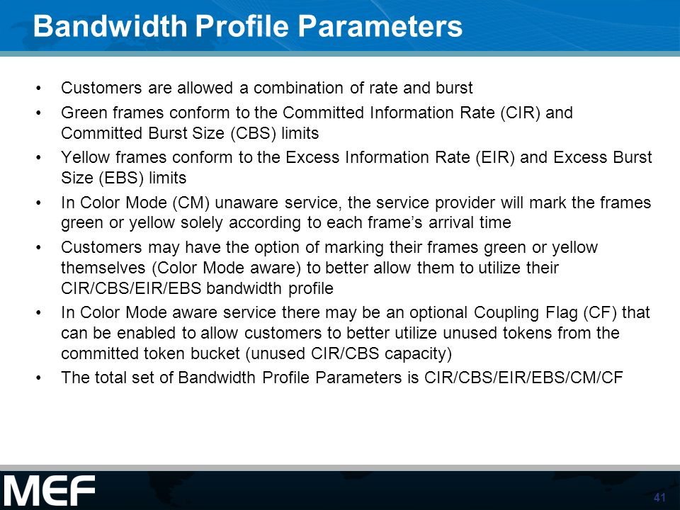 Bandwidth Profile Parameters