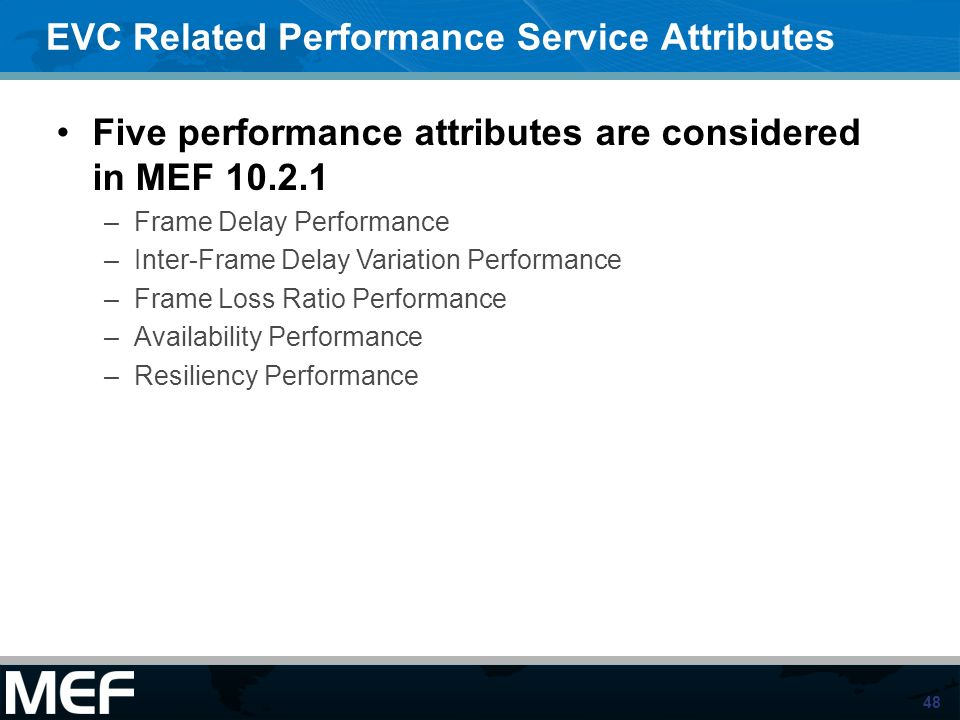 EVC Related Performance Service Attributes