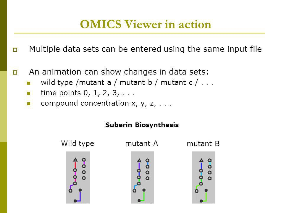 OMICS Viewer in action Multiple data sets can be entered using the same input file. An animation can show changes in data sets: