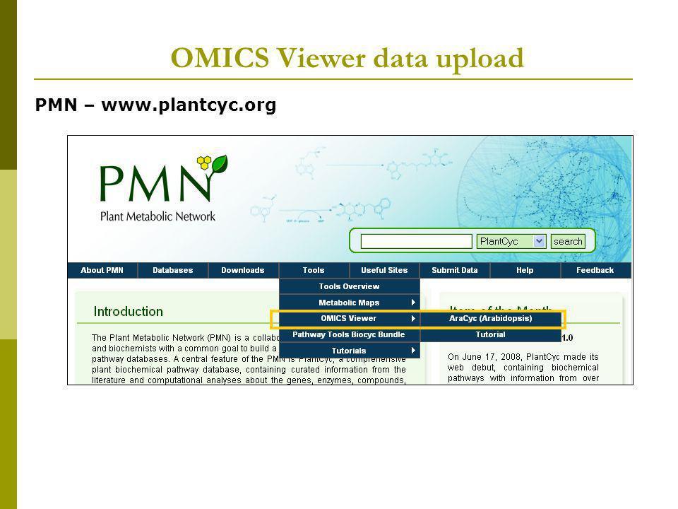 OMICS Viewer data upload