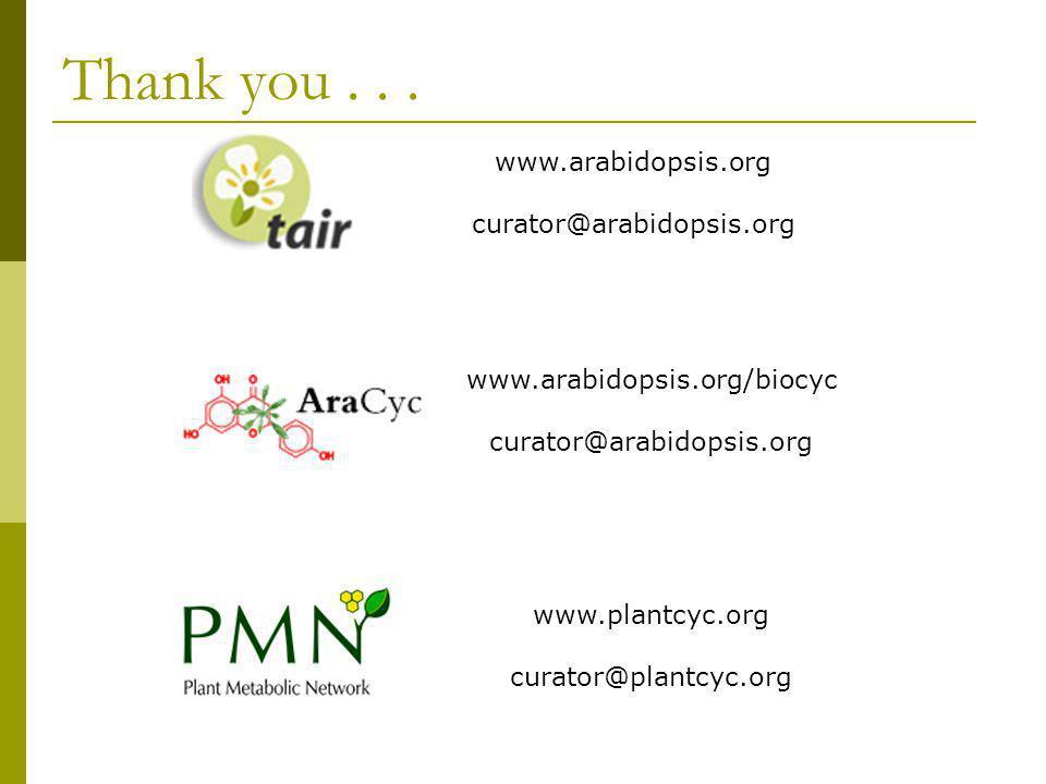 Thank you . . . www.arabidopsis.org curator@arabidopsis.org