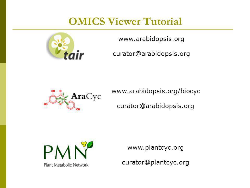 OMICS Viewer Tutorial www.arabidopsis.org curator@arabidopsis.org