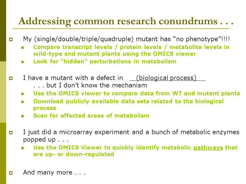 Addressing common research conundrums . . .