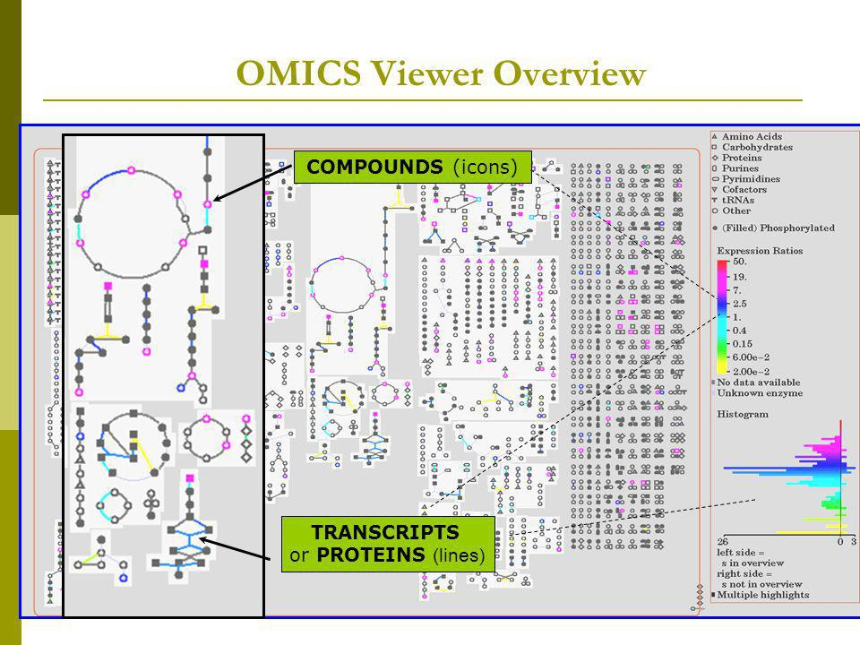 OMICS Viewer Overview COMPOUNDS (icons) TRANSCRIPTS