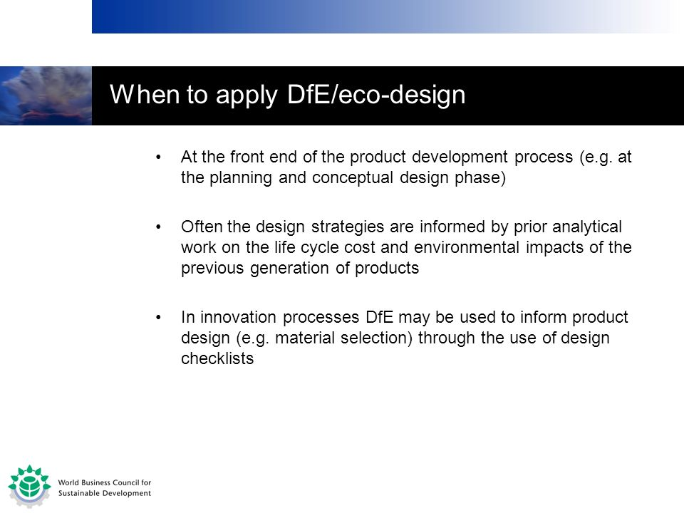 When to apply DfE/eco-design