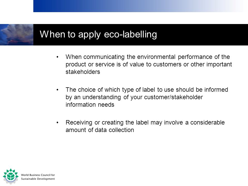 When to apply eco-labelling