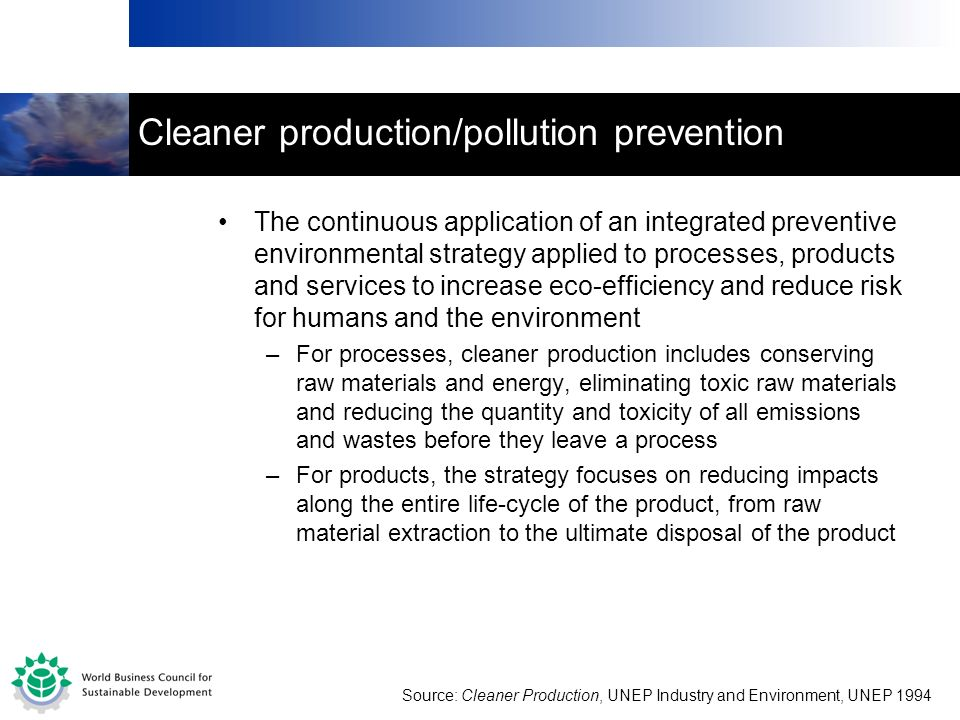 Cleaner production/pollution prevention