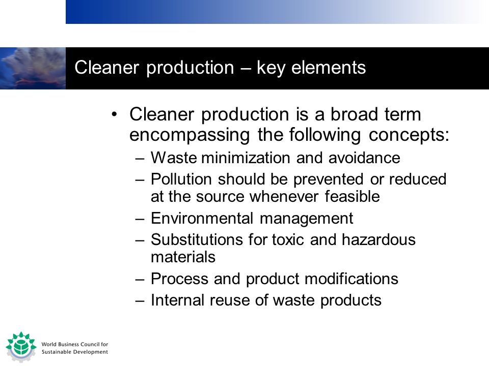 Cleaner production – key elements