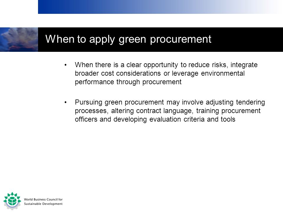 When to apply green procurement