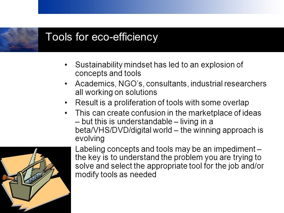 Tools for eco-efficiency