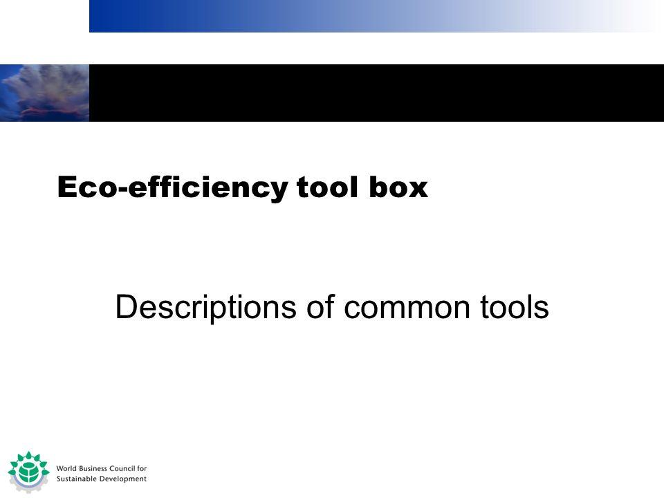 Eco-efficiency tool box