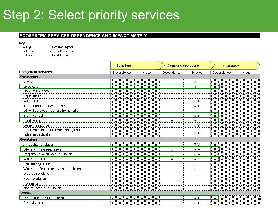 Step 2: Select priority services