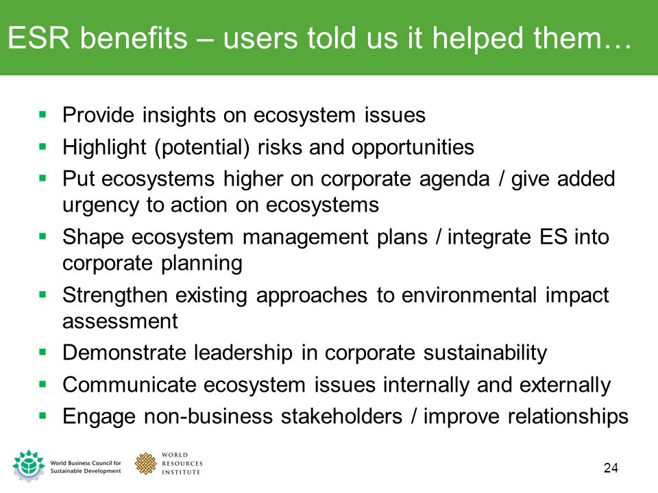 ESR benefits – users told us it helped them…