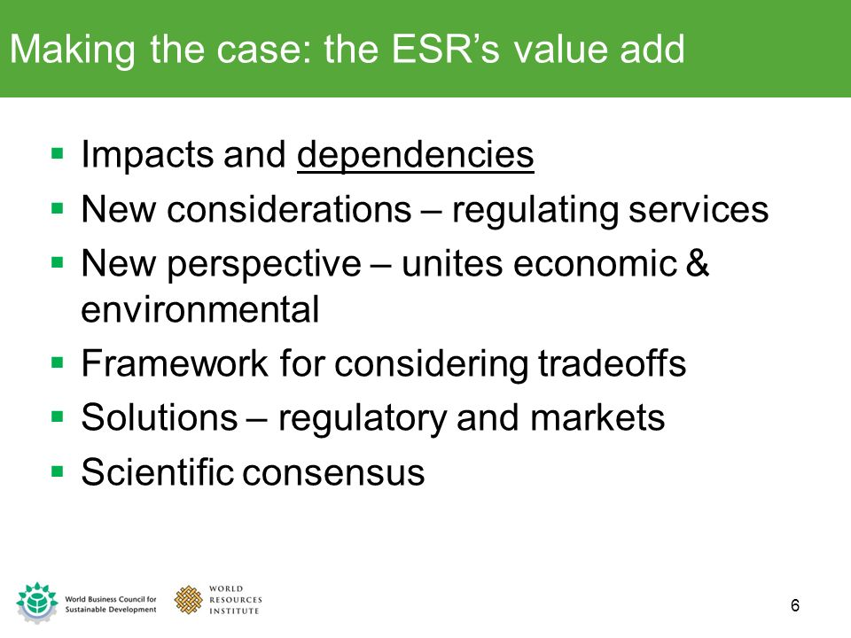 Making the case: the ESR's value add