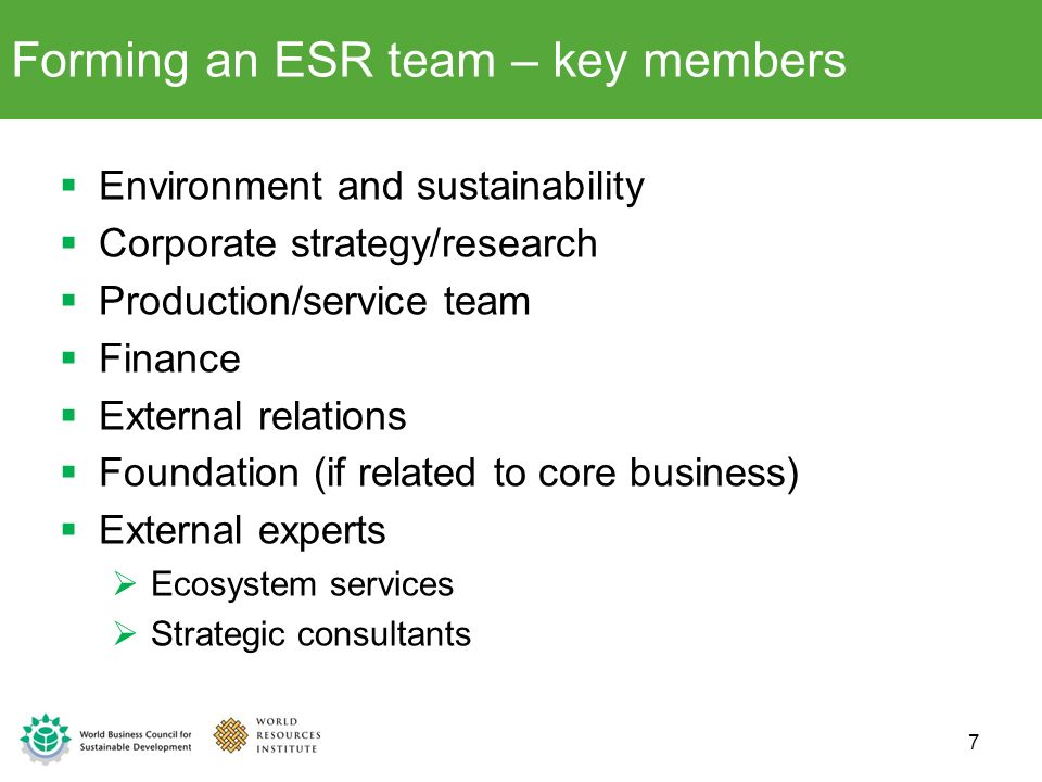 Forming an ESR team – key members