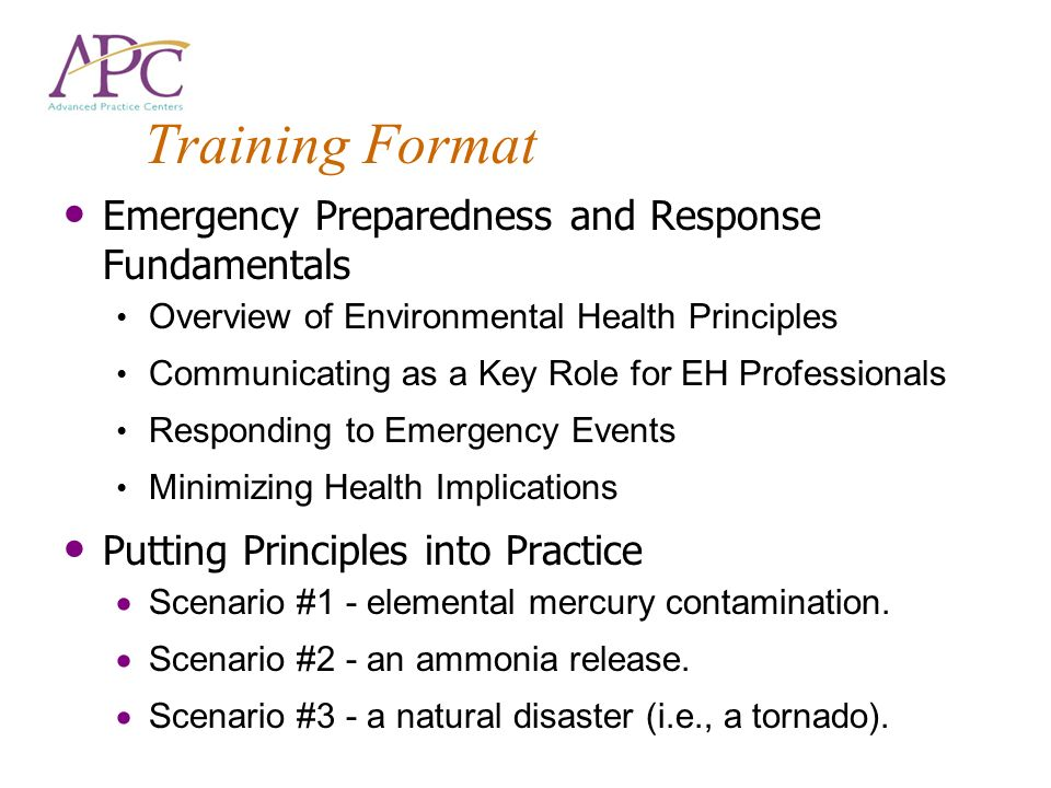 Training Format Emergency Preparedness and Response Fundamentals