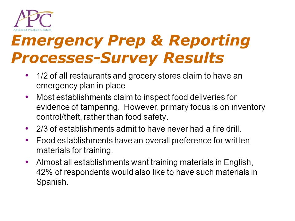Emergency Prep & Reporting Processes-Survey Results