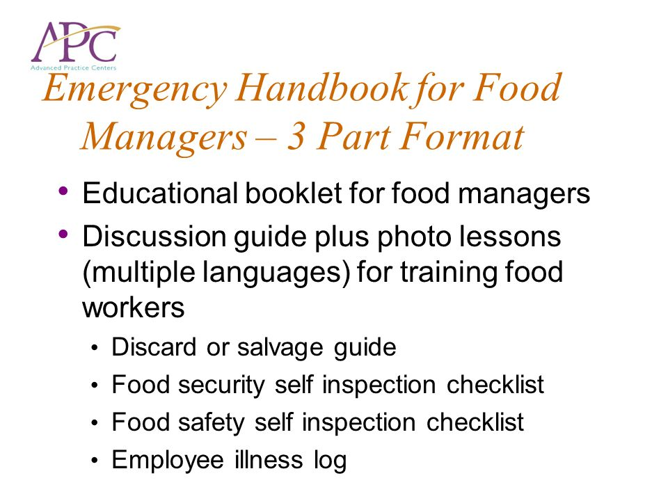 Emergency Handbook for Food Managers – 3 Part Format