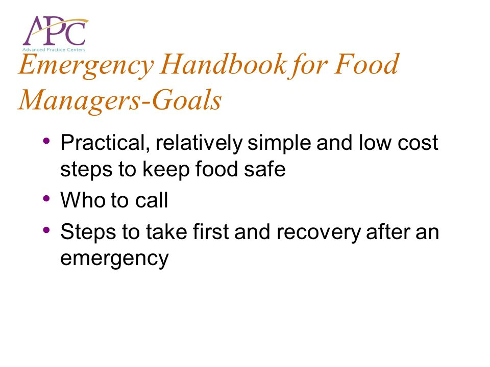 Emergency Handbook for Food Managers-Goals