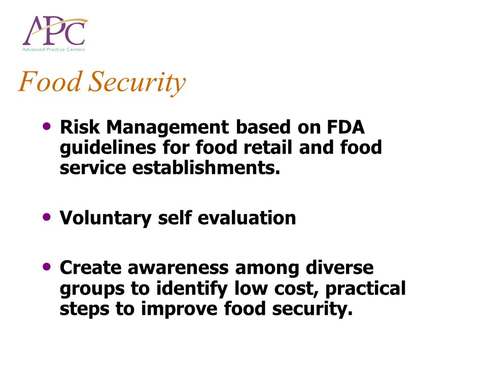 Food Security Risk Management based on FDA guidelines for food retail and food service establishments.