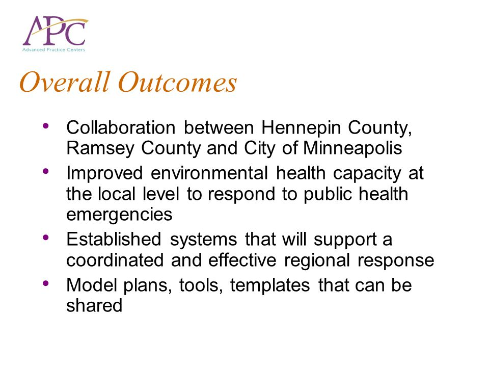 Overall Outcomes Collaboration between Hennepin County, Ramsey County and City of Minneapolis.