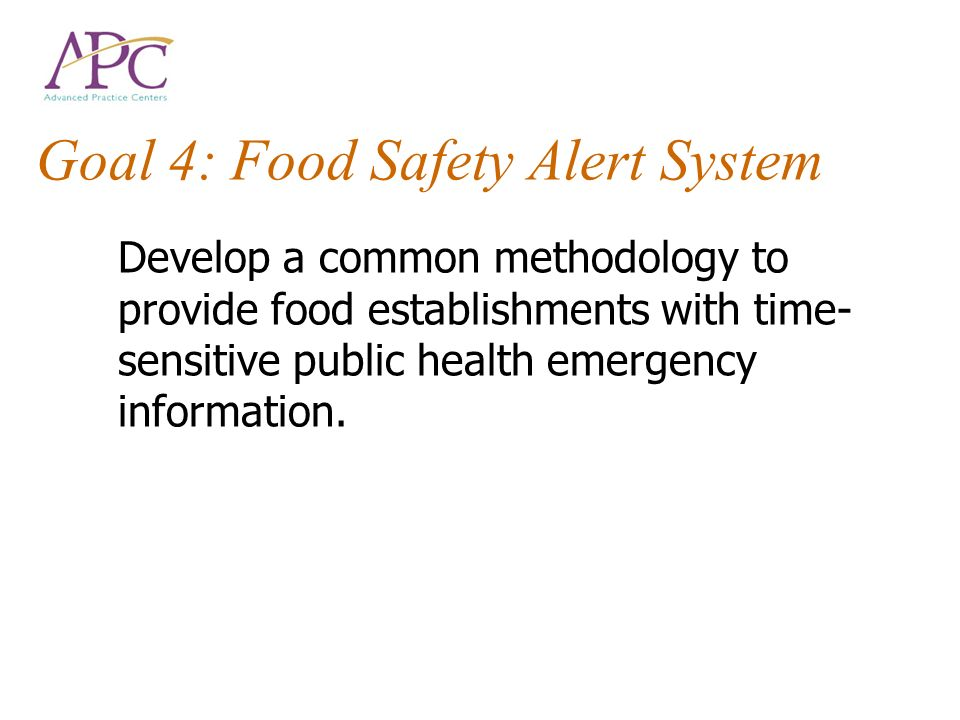 Goal 4: Food Safety Alert System