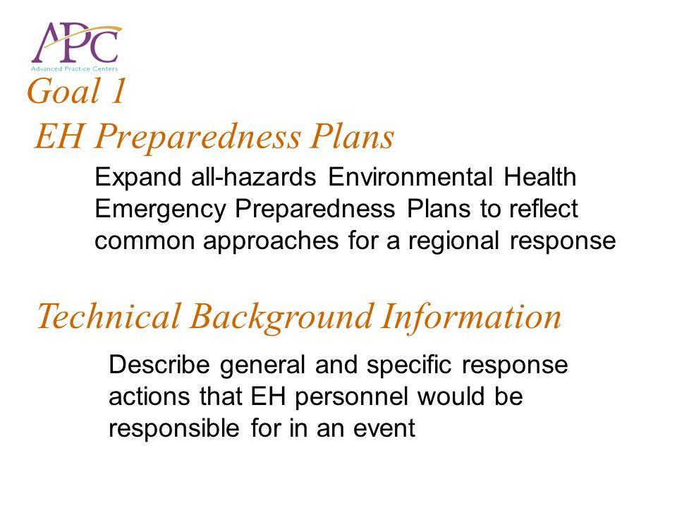 Goal 1 EH Preparedness Plans