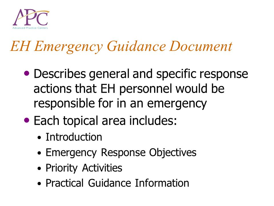 EH Emergency Guidance Document