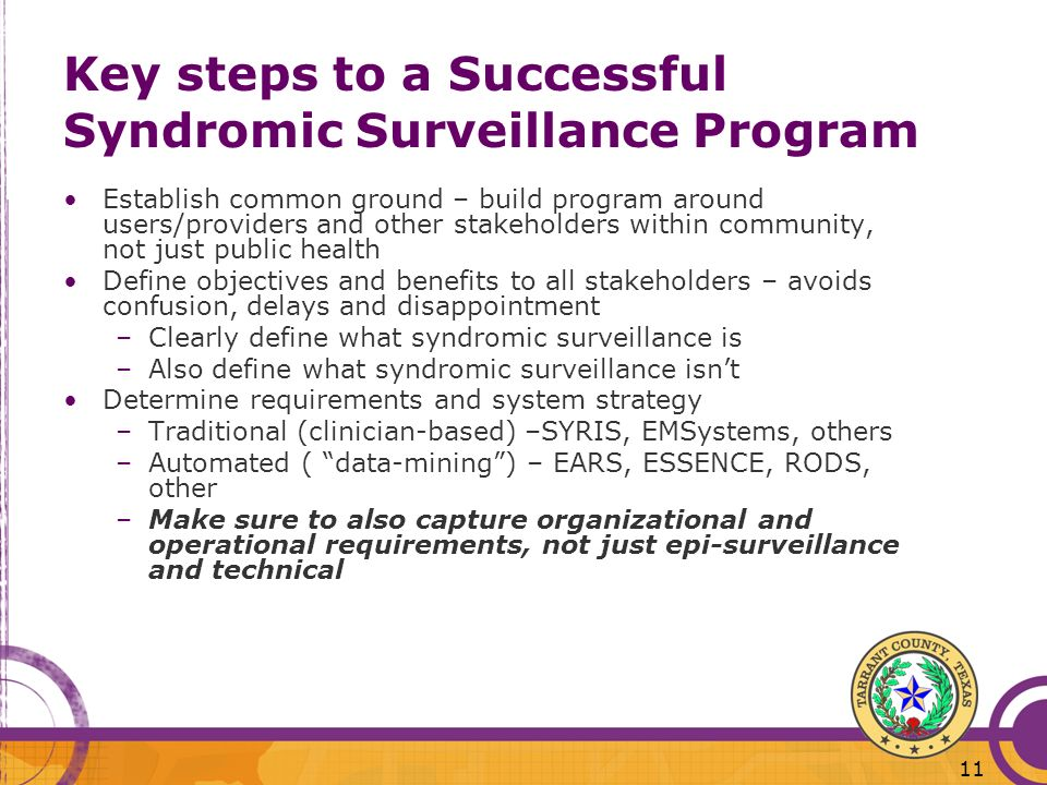 Key steps to a Successful Syndromic Surveillance Program